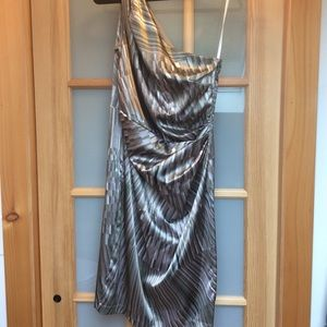 One Shoulder Silvery Cocktail Dress